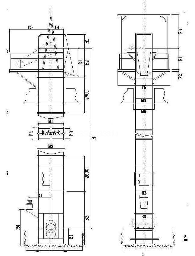 NSE板链斗式提升机构造图纸